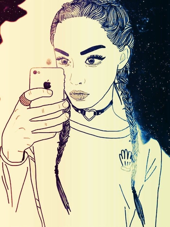 long braided hair, how to draw a girl step by step, iphone in hand, drawing of a girl