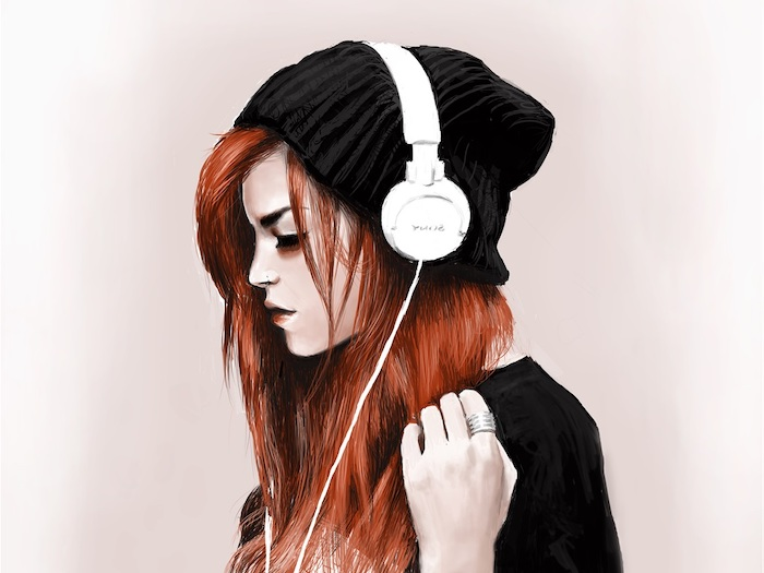 black beanie, white headphones, how to draw a woman, long red hair, black top, light pink background