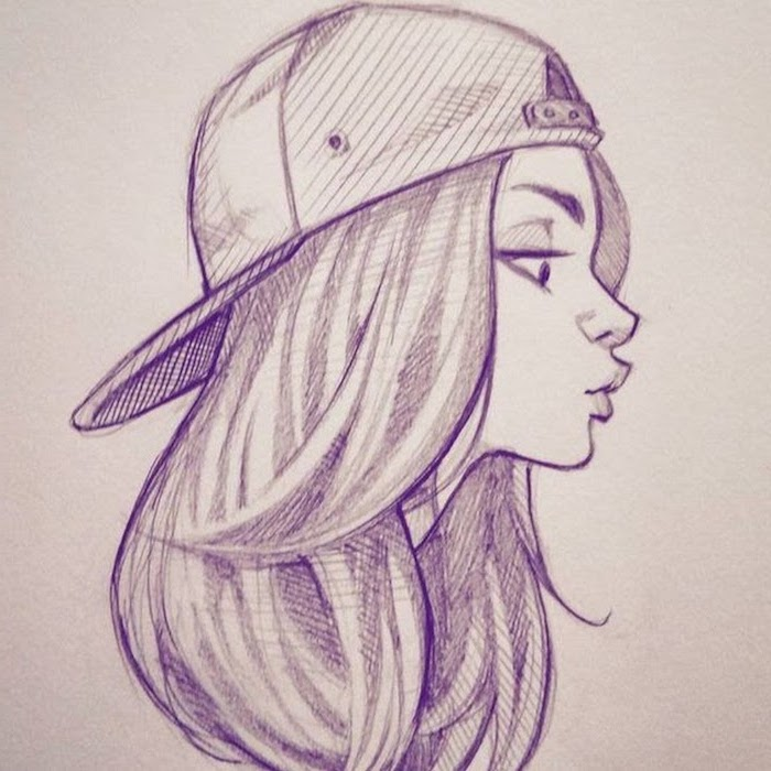 black and white drawing of a girl, how to draw a woman, sports cap, long hair, white background