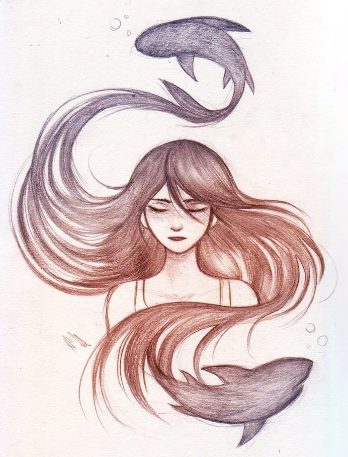 red and grey long hair, drawing of a girl, how to draw a woman, white background