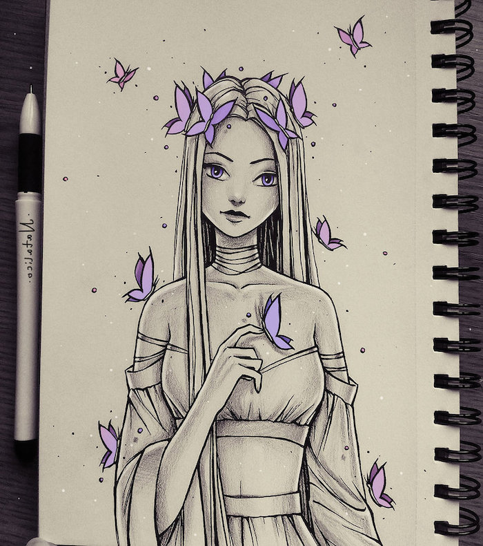 long hair, purple butterflies, white background, how to draw a face step by step, pen and notebook