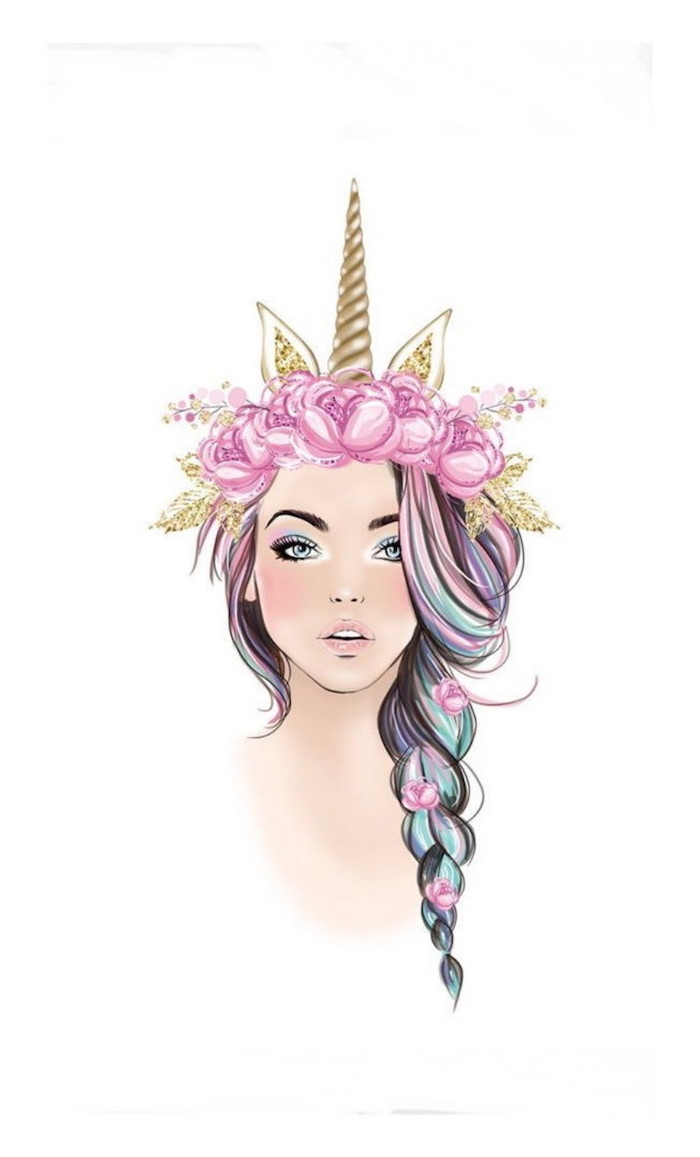 colourful drawing of a girl, unicorn horn and ears, colourful braided hair, how to draw a face step by step
