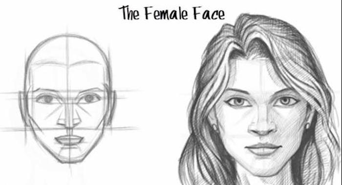 how to draw a girl, black and white sketch, female face with long hair, step by step tutorial