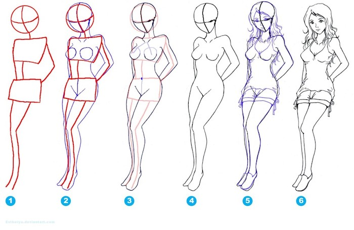 female body sketch, how to draw a face, step by step tutorial, white background