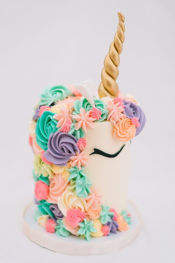 green yellow pink and purple roses on white fondant, diy unicorn cake, gold horn