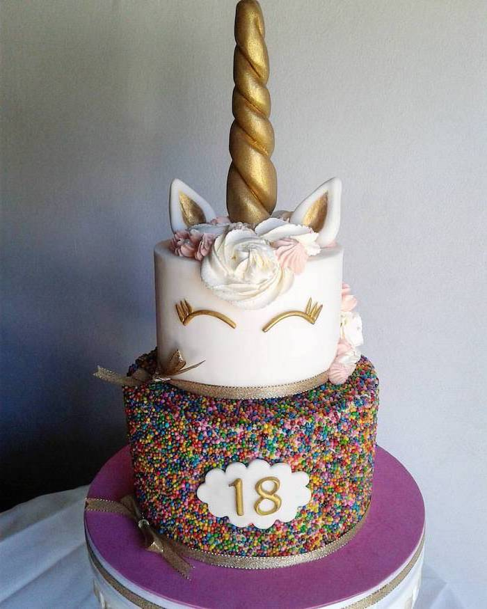 sprinkled cake layer, unicorn cake pictures, pink and white roses on white fondant, gold horn and ears