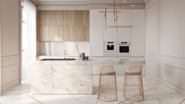 marble floor with golden geometrical shapes, kitchen design ideas, metal golden stools, wooden cabinets