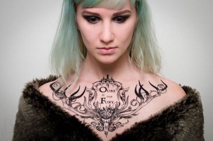 blue hair, white background, rose chest tattoo, ours is the fury stag, game of thrones tattoo