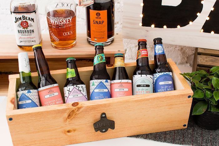beer bottles with special messages, wooden box, personalised gifts for boyfriend