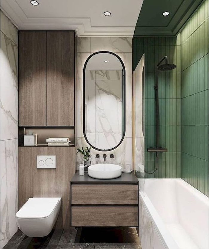 green tiled wall, marble tiled walls and floor, wooden cabinets, bathroom renovation ideas