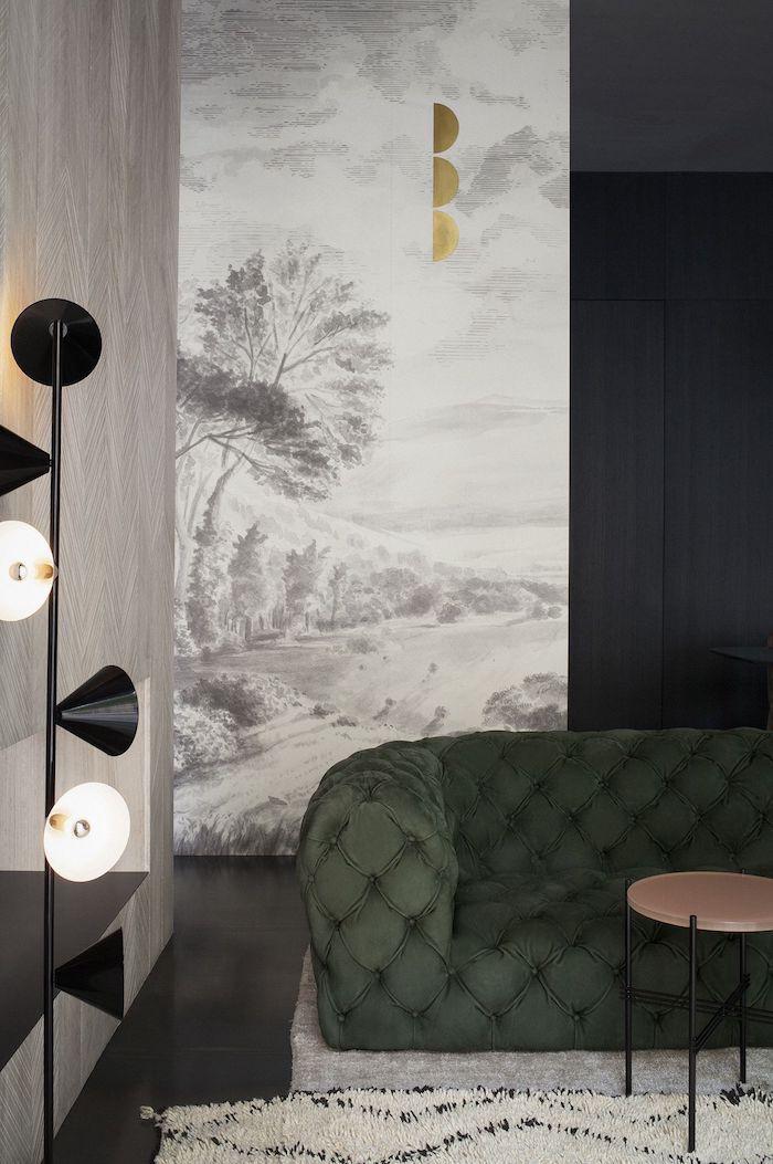 white and grey painting wallpaper, living room paint ideas, green velvet sofa, white rug, standing lamp