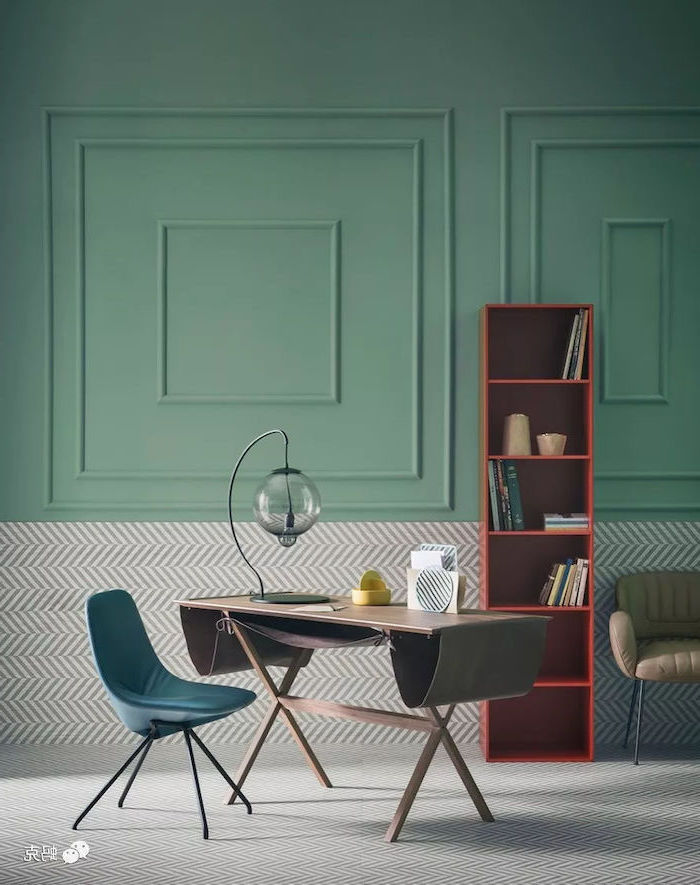 green well, red bookcase, turquoise chair, home office setup, wooden desk, round desk lamp