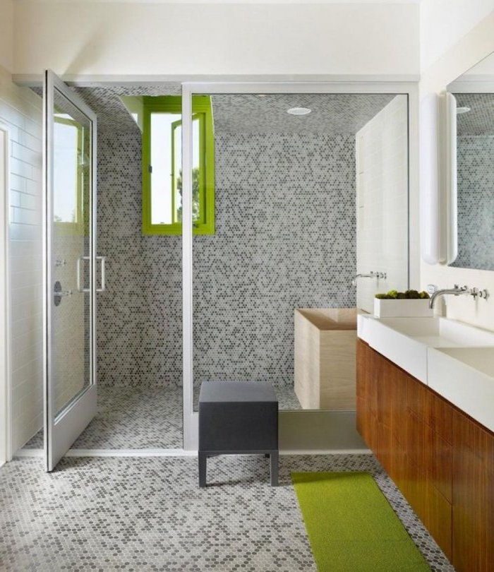mosaic tiled floor walls and ceiling, green window and rug, bathroom renovation ideas, glass shower door
