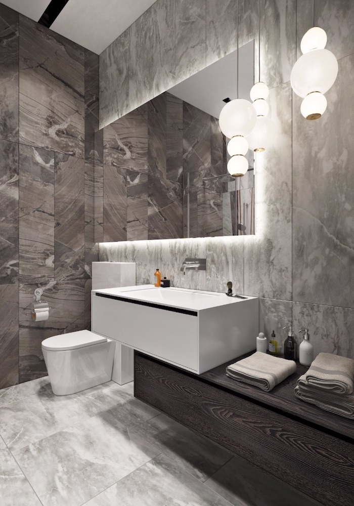 grey marble tiled walls and floor, floating wooden shelf, led lights, bathroom remodel ideas