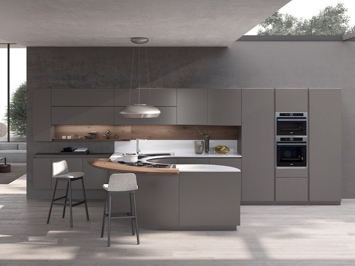 grey cabinets and kitchen island, wooden and white counters, kitchen wall decor ideas, grey stools
