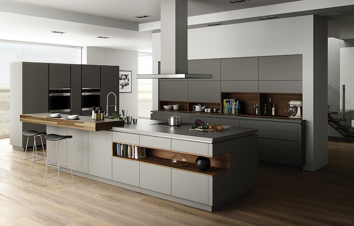 grey cabinets and drawers, wooden shelves, kitchen design ideas, black stools