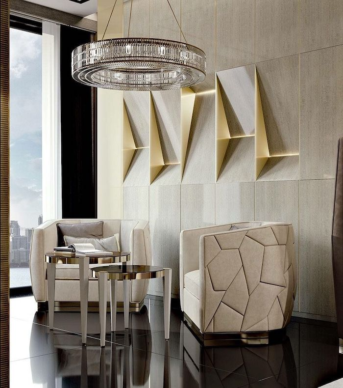 white leather armchairs, black floor, best colors for living room wall, grey and gold tiles 3d wallpaper
