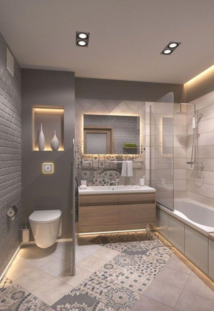 grey brick wall, small bathroom decorating ideas, grey and patterned tiled walls and floor, led lights