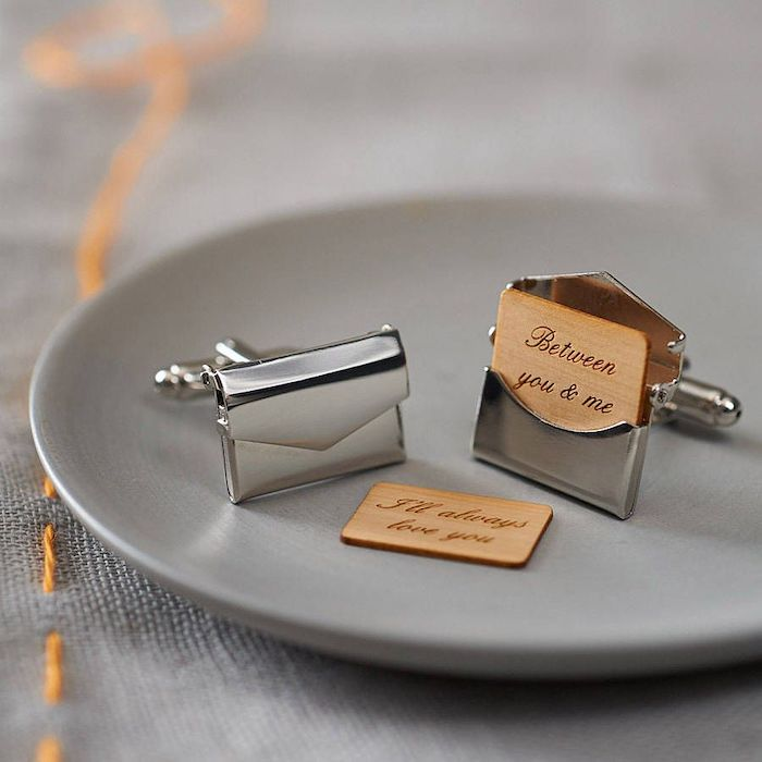 metal cufflinks, special message inside, grey plate, unique gifts for boyfriend