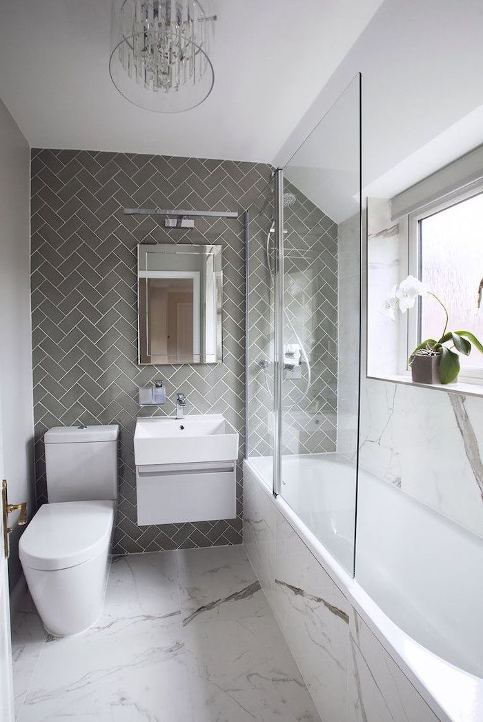 grey tiled wall, marble tiled floor, small bathroom decorating ideas, white floating cabinet