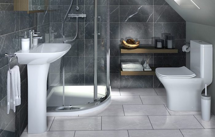 grey tiled walls and floor, floating wooden shelves, how to decorate a bathroom, white sink