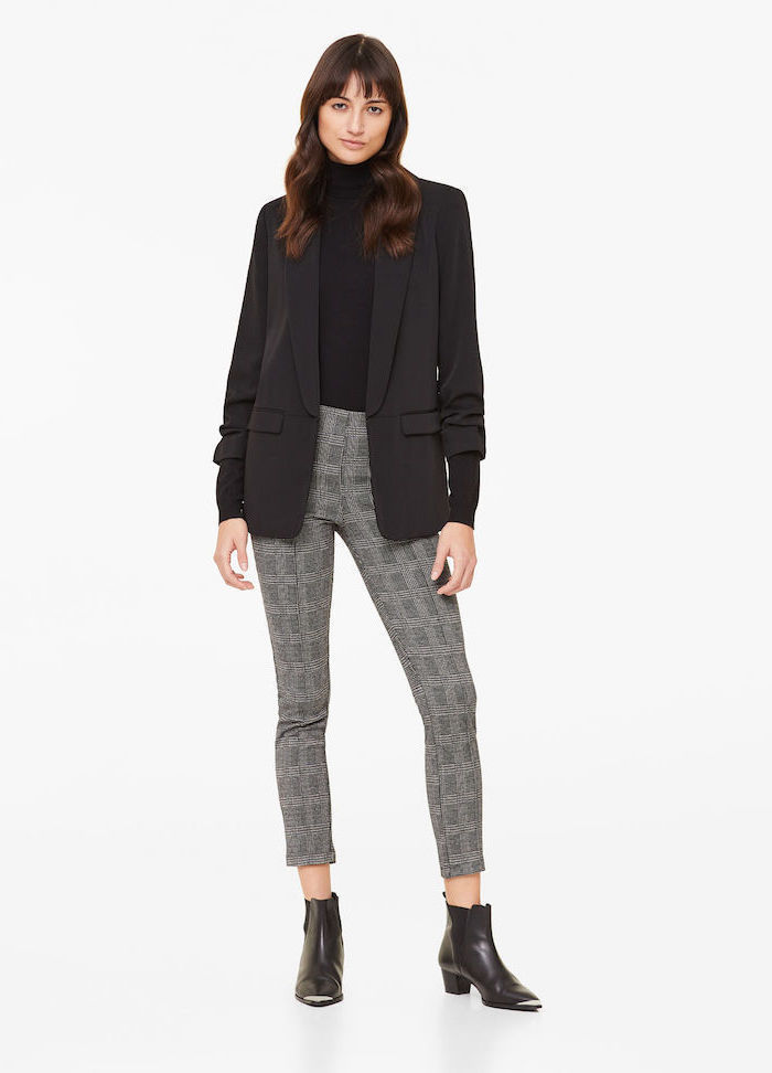 black pointed boots, business casual dress code, black turtleneck and blazer, light grey trousers