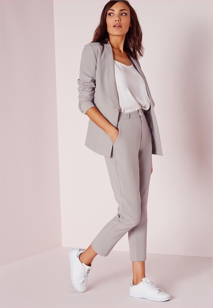 grey trousers and blazer, business casual attire, white top and sneakers