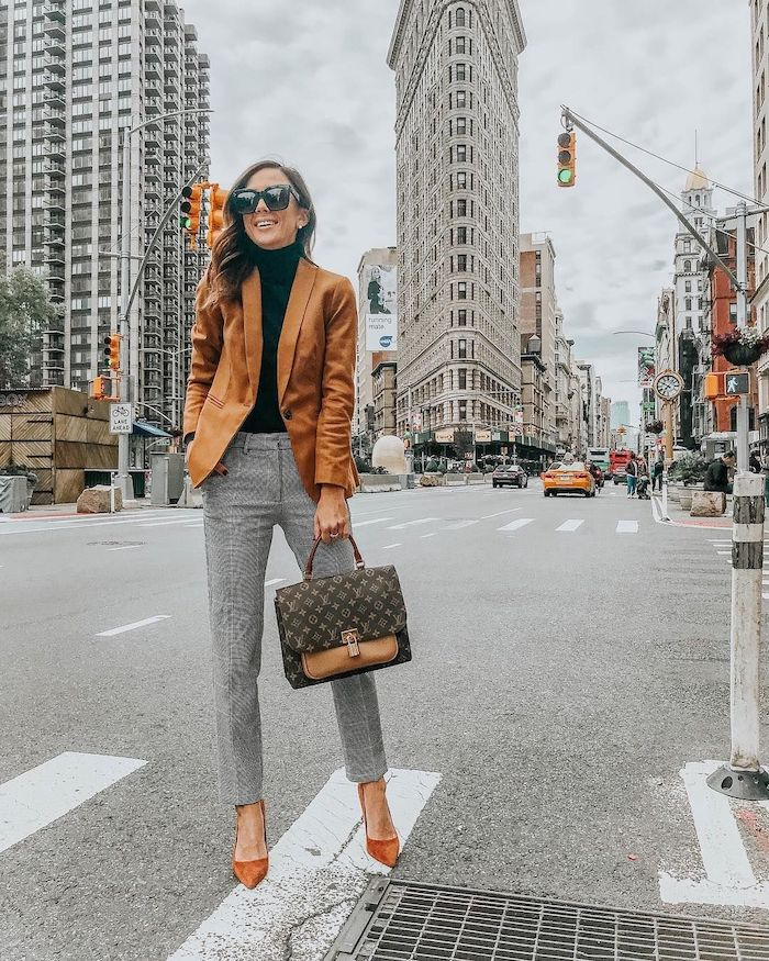 brown blazer and heels, grey trousers, what is business casual, black turtleneck, brown leather bag