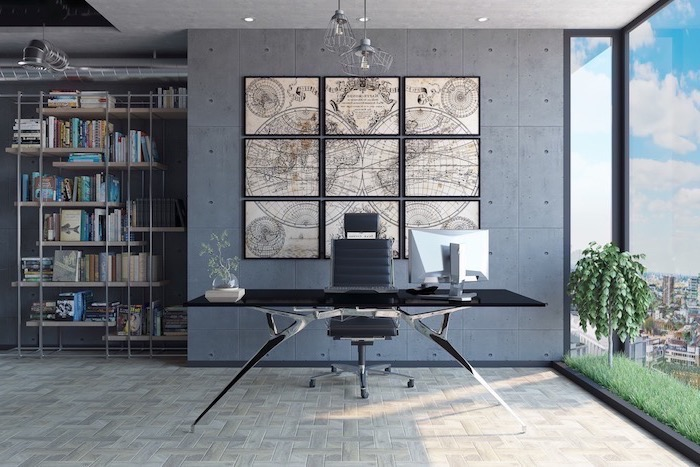 vintage geographical map of planet earth, office decor ideas, black desk with black leather chair, metal bookcase