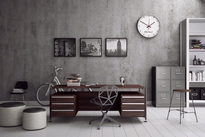 grey wall and drawers, wooden desk, geometrical grey chair, office decor ideas, white bookcase