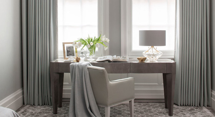 grey curtains, home office setup, grey leather chair, wooden grey desk,