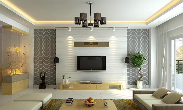 grey and white wall installation, white sofa and stools, living room paint ideas, yellow rug