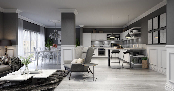 wooden floor, kitchen cabinet design, grey walls, white cabinets and drawers, black stools