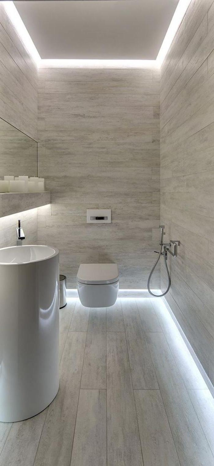led lights, small bathroom decorating ideas, grey tiled walls and floor, white oval sink