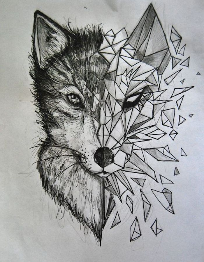 wolf head drawing, small meaningful tattoos, black and white drawing, white background