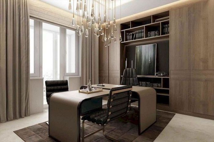 black leather chairs, hanging chandelier, small home office ideas, beige wooden desk, large wooden cabinets