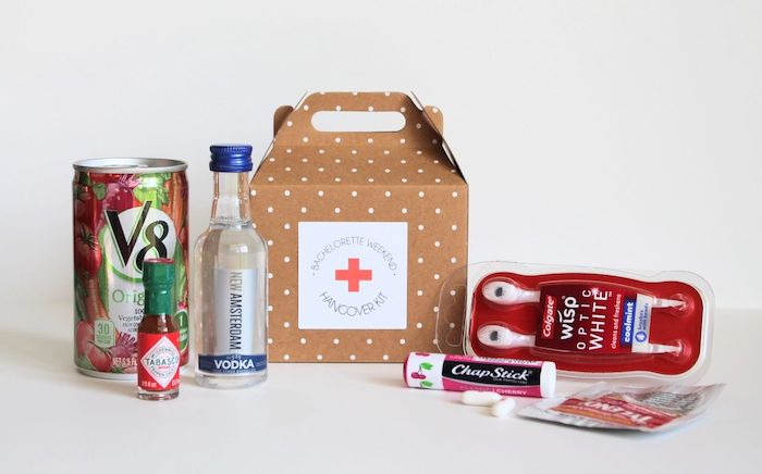 bachelorette weekend hangover kit, dotted brown box, bachelorette party game ideas, white background