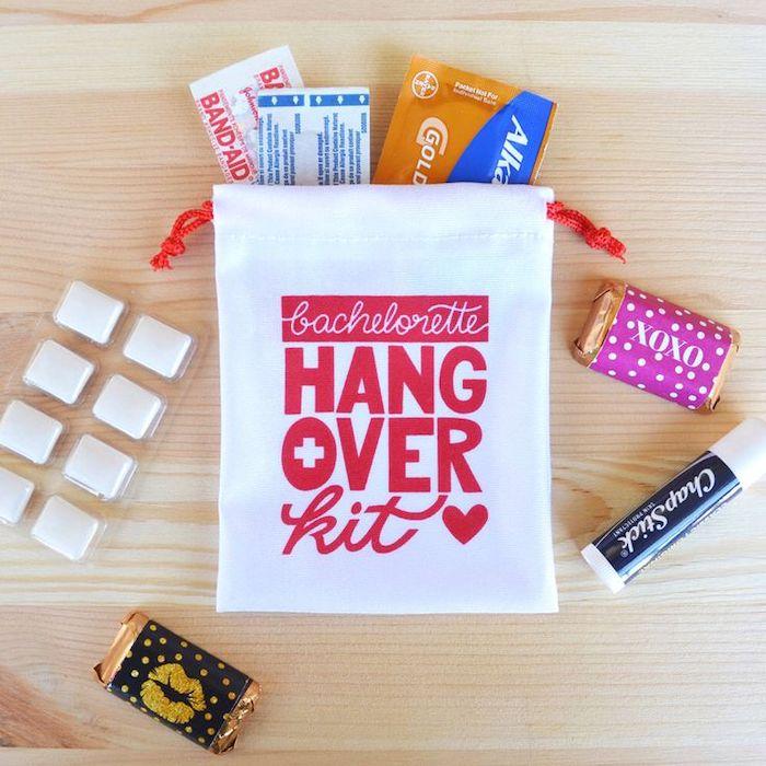 bachelorette party game ideas, bachelorette hangover kit, wooden background