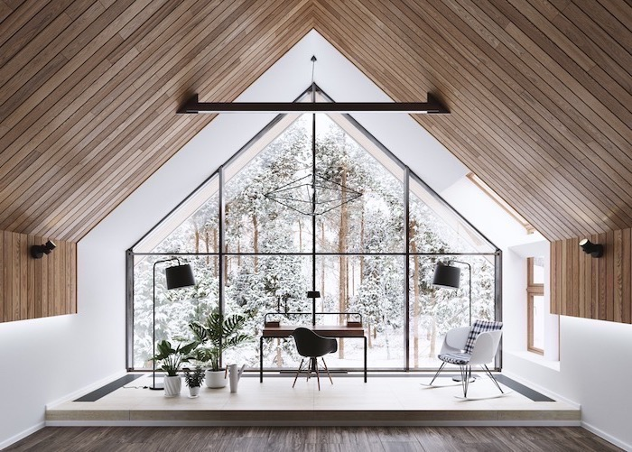 small wooden desk, black chair, high wooden ceiling, home office ideas, printed blue and white armchair