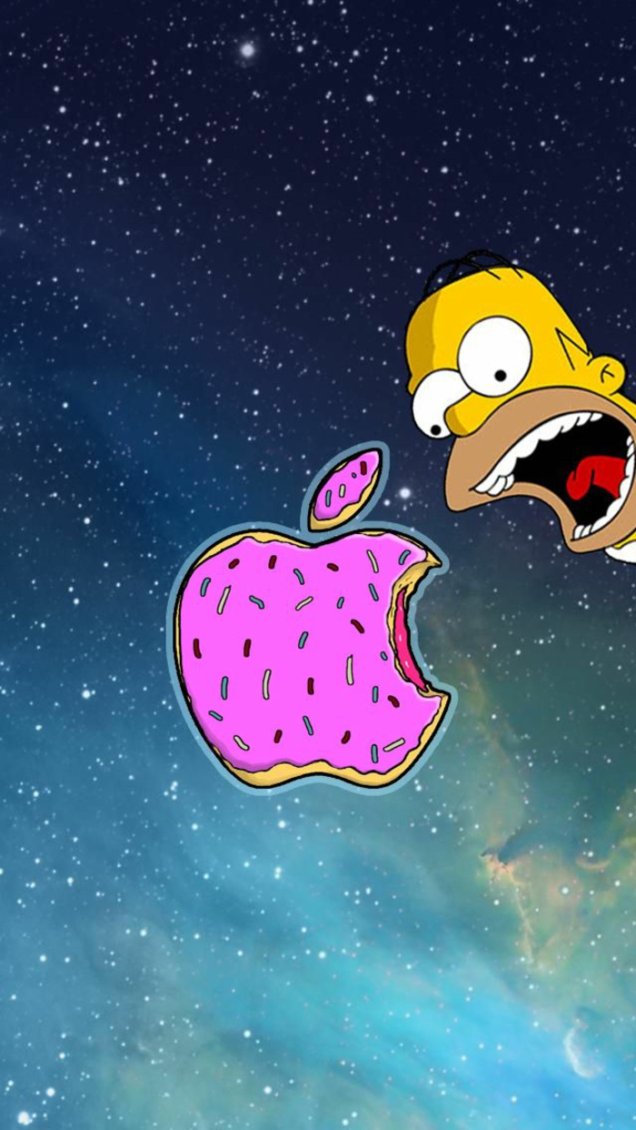 homer simpson, iphone backgrounds, apple shaped donut, starry sky
