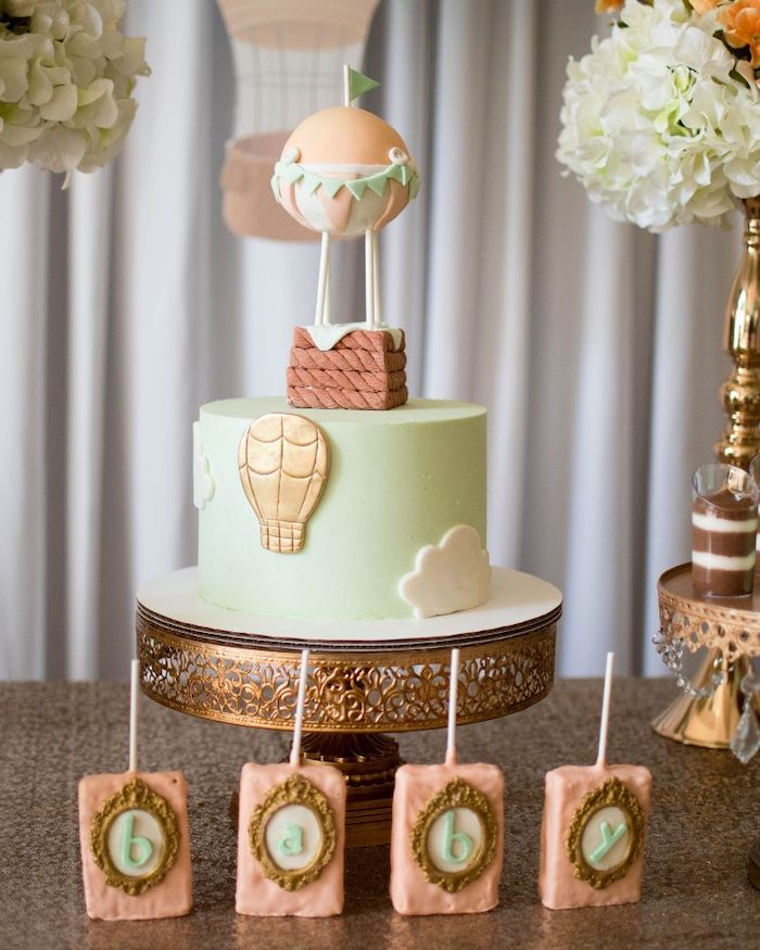 golden cake stand, baby boy shower decorations, hot air balloon cake topper, baby letters cake pops