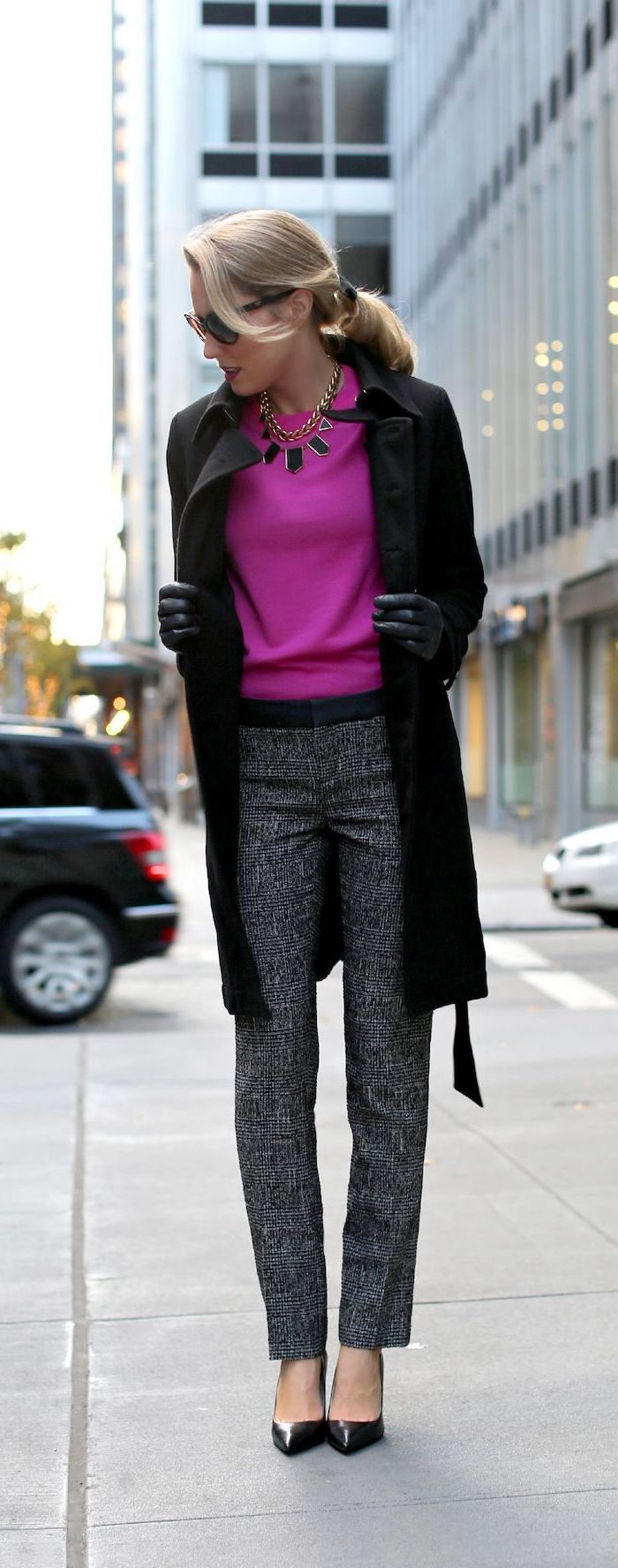 hot pink blouse, what is business casual, dark grey trousers, long black coat and shoes, leather gloves