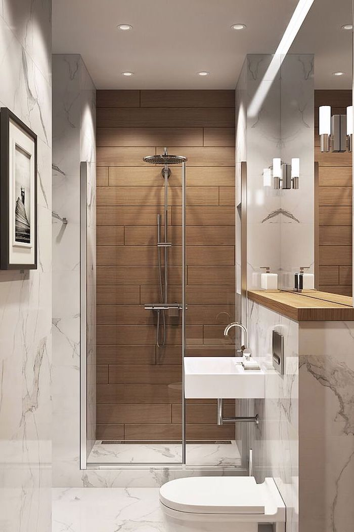 wooden tiled wall, marble walls and floor, bathroom designs for small spaces, floating sink