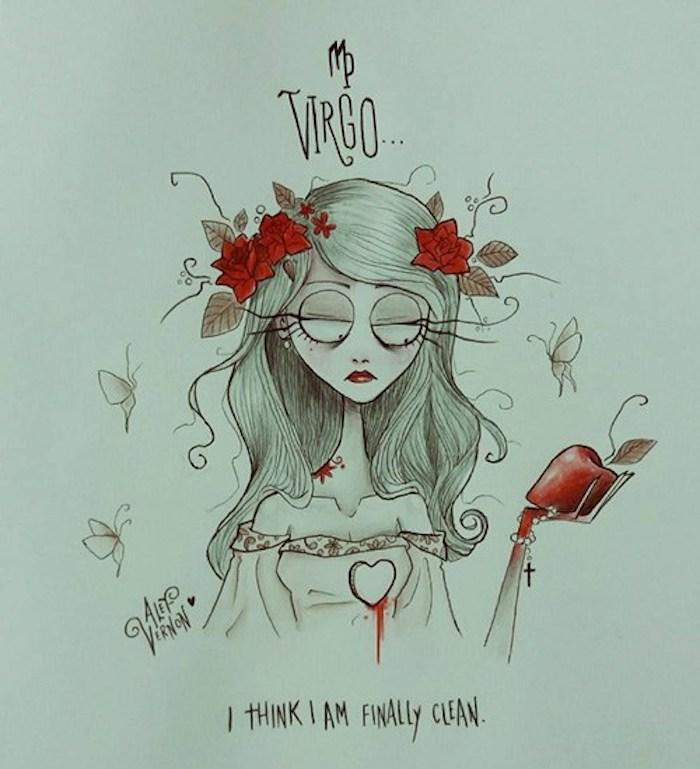 girl drawing easy, virgo zodiac sign drawing, flower in the hair, long blonde wavy hair