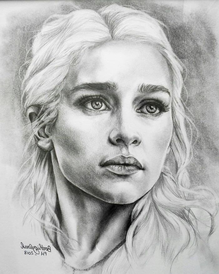 black and white sketch, girl face drawing, daenerys targaryen drawing, blonde long curly hair