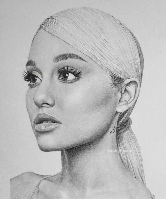 white background, girl face drawing, ariana grande black and white drawing, long low ponytail
