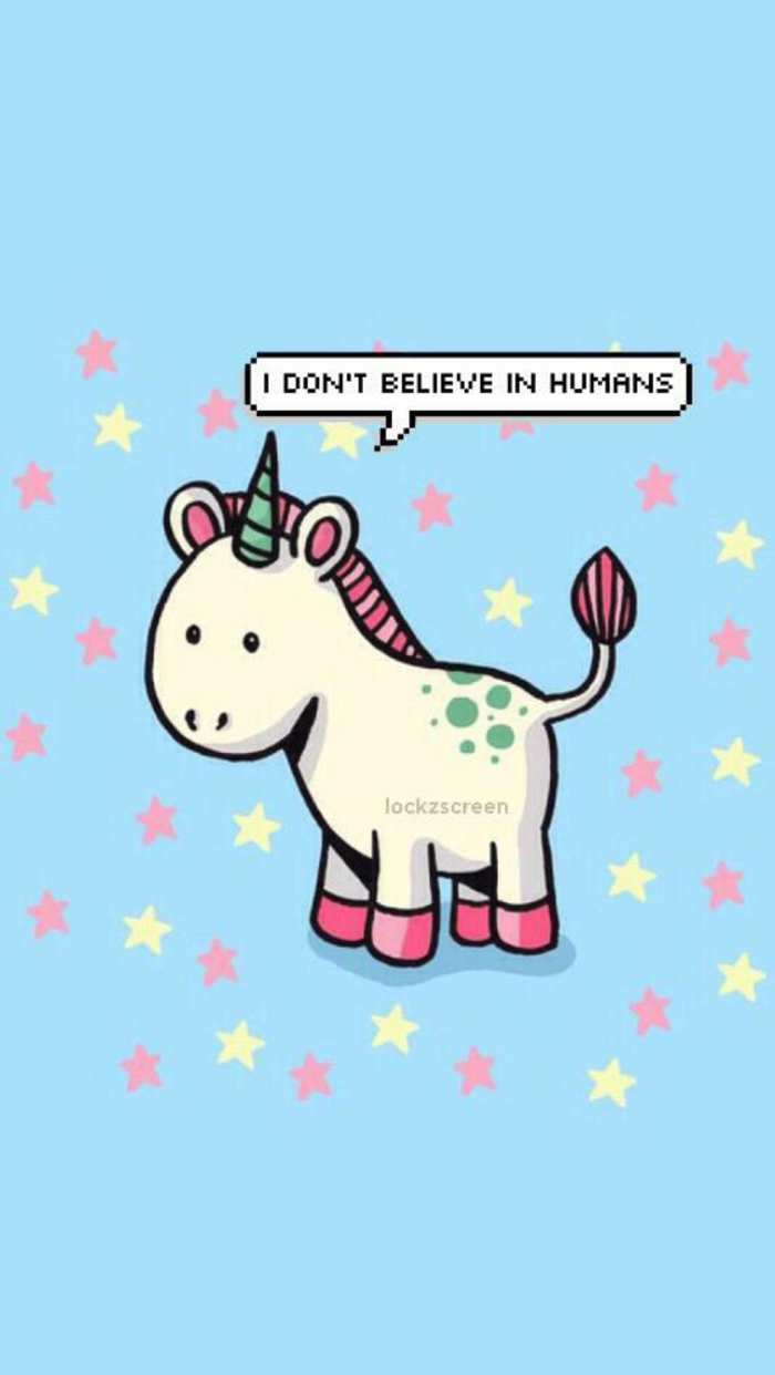 i don't believe in humans unicorn, pink iphone wallpaper, pink and yellow stars, blue background