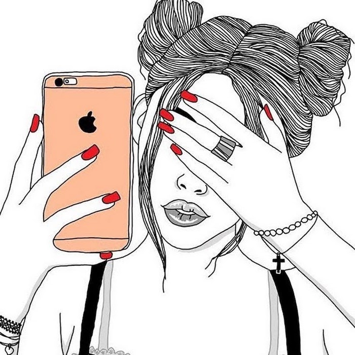 red nail polish, orange iphone case, black and white sketch, how to draw a female face, hair in buns