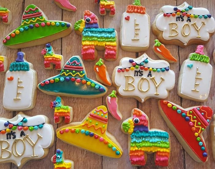 baby shower party ideas, pinata and sombrero shaped cookies, lots of colours