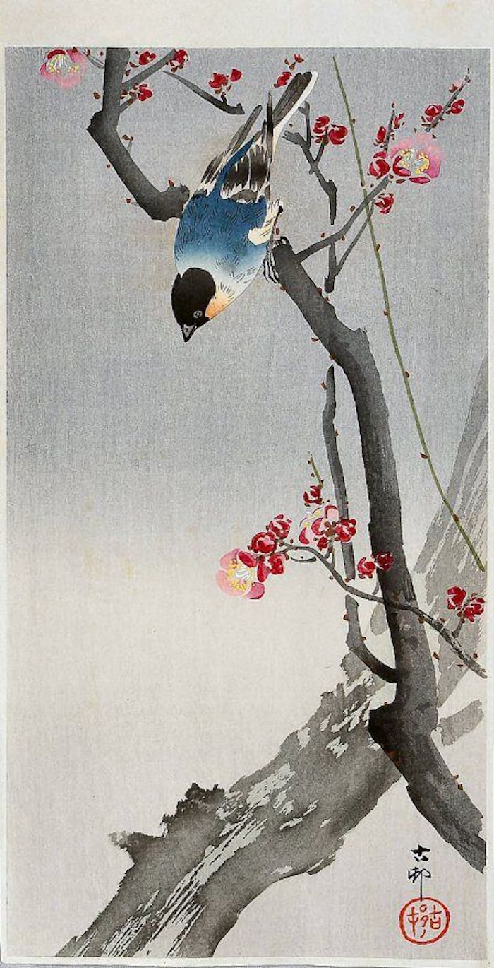 japanese inspired drawing, grey background, blue bird on a tree branch, tattoo designs for women